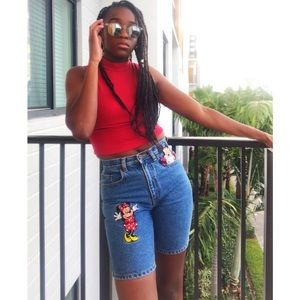Vintage Mickey Mouse High Waisted Denim Shorts